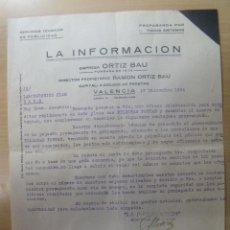 Cartas comerciales: CARTA COMERCIAL 1934 LA INFORMACION VALENCIA. Lote 201149443