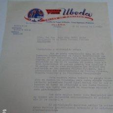Cartas comerciales: OLLERÍA. VALENCIA. VICENTE Y JUAN UBEDA. TALLER DE PIROTECNIA. CARTA A JUNTA CENTRAL FALLERA. 1968. Lote 201223637