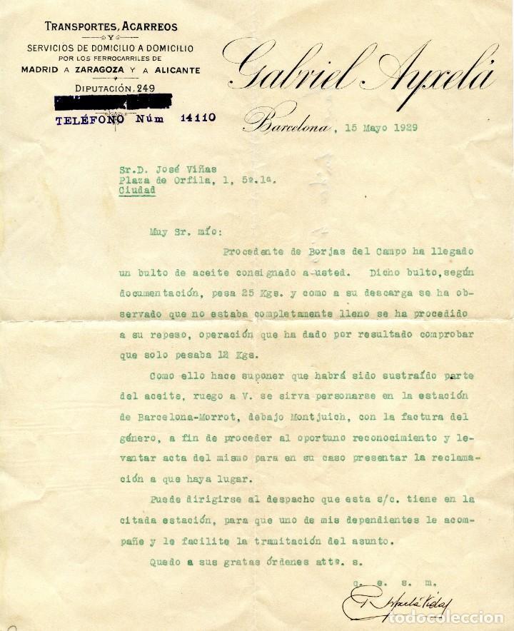 LES BORGES DEL CAMP CARTA, RECIBO Y SOBRE CON SELLO (1929) (Coleccionismo - Documentos - Cartas Comerciales)