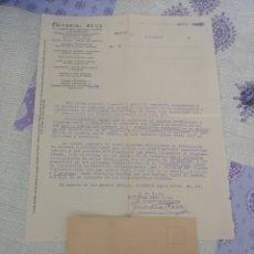 Cartas comerciales: CARTA CON SOBRE EDITORIAL REUS 1929.. Lote 201994386