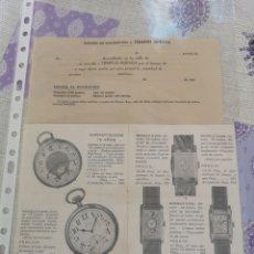 Cartas comerciales: PUBLICIDAD DE RELOJES TIEMPOS NUEVOS Y BOLETÍN DE SUSCRIPCION.. Lote 202003528