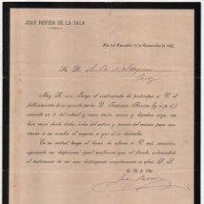 Cartas comerciales: PLA DEL PANADES- JUAN ROVIRA SALA- FALLECIMIENTO Y SUCESOR- 18 DICIEMBRE 1897.- VER FOTOS. Lote 202537048