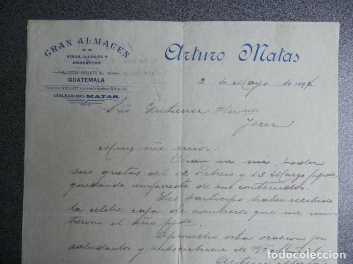 GUATEMALA CARTA COMERCIAL AÑO 1894 GRAN ALMACEN VINOS Y LICORES ARTURO MATAS (Coleccionismo - Documentos - Cartas Comerciales)