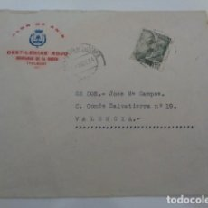 Cartas comerciales: QUINTANAR DE LA ORDEN. TOLEDO. DESTILERIAS ROJO. FLOR DE ANIS. SOBRE COMERCIAL AÑO 1944. Lote 202755956