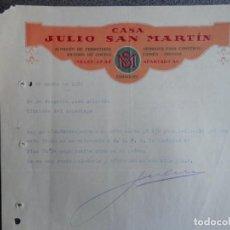 Cartas comerciales: ZARAGOZA CARTA COMERCIAL AÑO 1932 FERRETERÍA JULIO SAN MARTÍN BONITO MEMBRETE. Lote 202982625