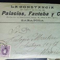 Cartas comerciales: ZARAGOZA, ARAGON, SOBRE Y CARTA DE PALACIOS Y FANTOBA PUBLICIDAD, DULCES. Lote 203334536