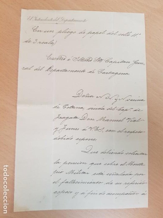 ANTIGUO DOCUMENTO MILITAR CAPITAN DE FRAGATA VIDAL Y FUNES TOTANA MURCIA (Coleccionismo - Documentos - Cartas Comerciales)