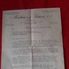 Cartas comerciales: CARTA COMERCIAL MONTANER Y SIMÓN EDITORES AÑO 1932 BARCELONA. Lote 204184512