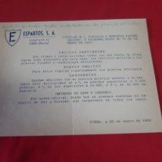 Cartas comerciais: CARTA COMERCIAL ESPARTOS. SA CIEZA MURCIA 1950. Lote 204594913