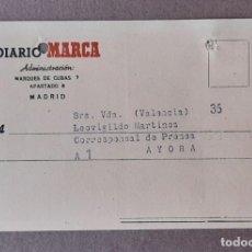 Cartas comerciales: NOTA DE ENVÍOS. DIARIO MARCA. LEOVIGILDO MARTÍNEZ. AYORA. VALENCIA. FEBRERO 1953.. Lote 204710425