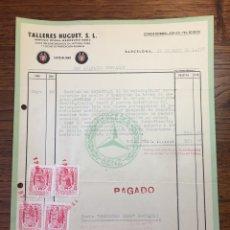 Cartas comerciales: CARTA COMERCIAL FACTURA TALLERES COCHE HUGUET PUBLICIDAD MERCEDES BENZ SEAT (BARCELONA) 1957. Lote 204763191