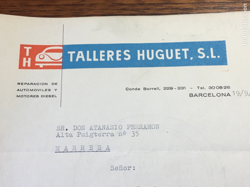 Cartas comerciales: CARTA COMERCIAL FACTURA TALLERES COCHE HUGUET PUBLICIDAD MERCEDES BENZ SEAT (BARCELONA) 1957 - Foto 2 - 204763546