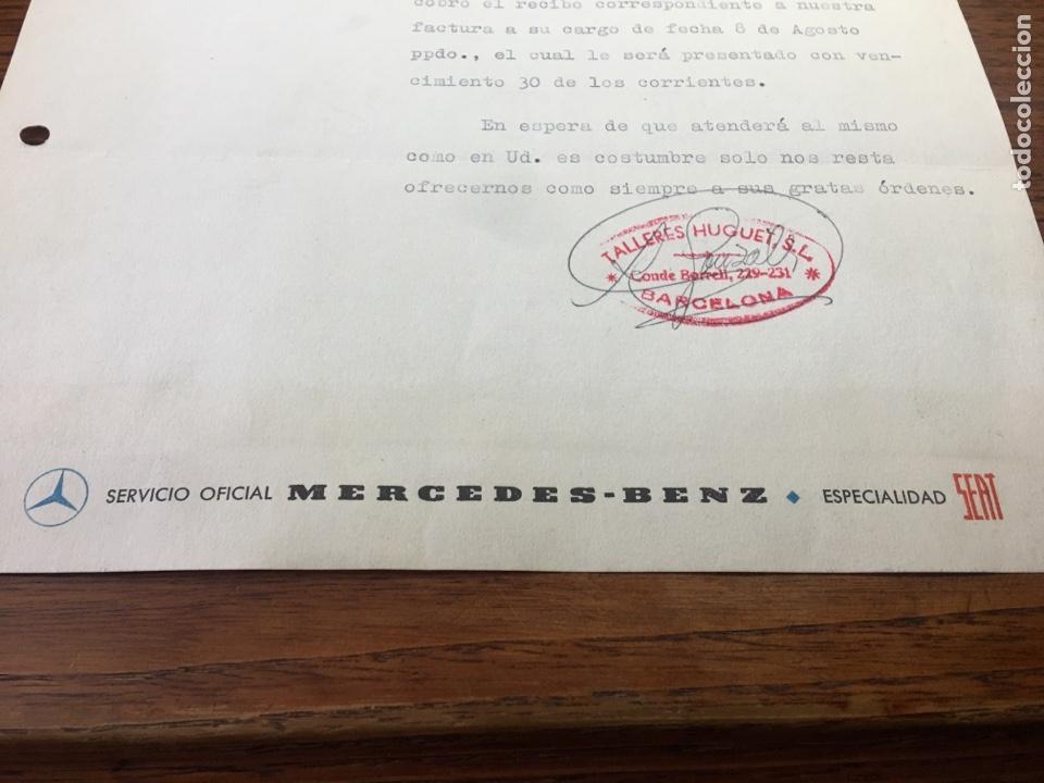 Cartas comerciales: CARTA COMERCIAL FACTURA TALLERES COCHE HUGUET PUBLICIDAD MERCEDES BENZ SEAT (BARCELONA) 1957 - Foto 3 - 204763546