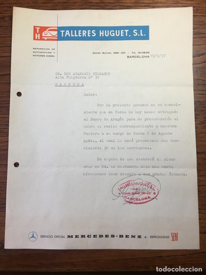 CARTA COMERCIAL FACTURA TALLERES COCHE HUGUET PUBLICIDAD MERCEDES BENZ SEAT (BARCELONA) 1957 (Coleccionismo - Documentos - Cartas Comerciales)
