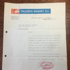 Cartas comerciales: CARTA COMERCIAL FACTURA TALLERES COCHE HUGUET PUBLICIDAD MERCEDES BENZ SEAT (BARCELONA) 1957. Lote 204763546
