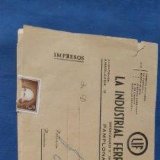 Cartas comerciales: ANTIGUO SOBRE FRANQUEADO DE UN COMERCIO DE PAMPLONA. Lote 205280562