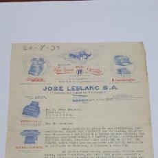 Cartas comerciales: CARTA COMERCIAL DE 11 DE JULIO 1933 JOSE LEBLANC, SA (MADRID). Lote 205294346