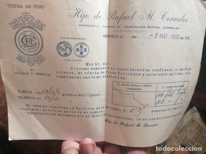 BODEGAS SAN PEDRO HIJO DE RAFAEL M CORRALES CARTA (Coleccionismo - Documentos - Cartas Comerciales)