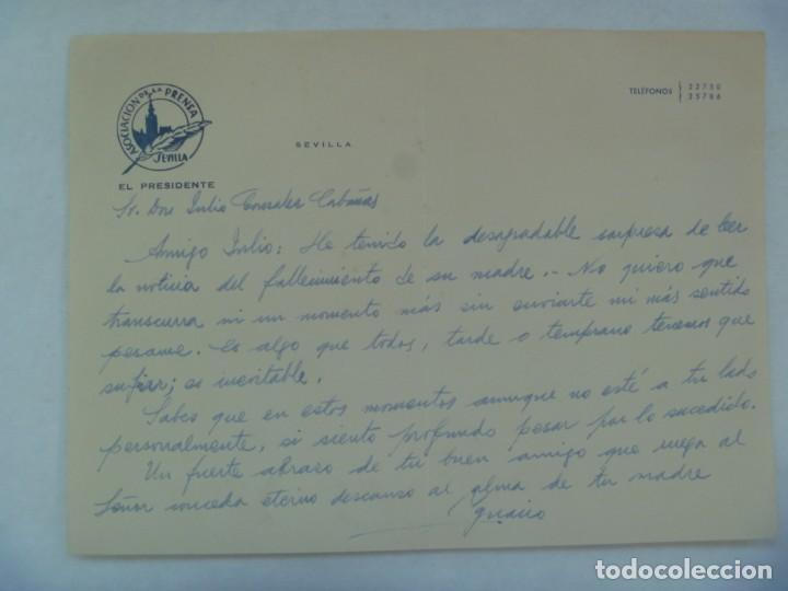 ASOCIACION DE LA PRENSA DE SEVILLA: CARTA DEL PRESIDENTE A AMIGO, MANUSCRITA . AÑOS 60 (Coleccionismo - Documentos - Cartas Comerciales)