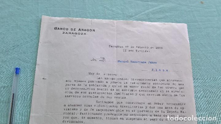 BANCO DE ARAGON..16 FEBREORO 1938..II AÑO TRINFAL (Coleccionismo - Documentos - Cartas Comerciales)
