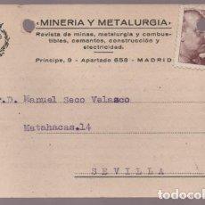 Cartas comerciales: POSTAL --REVISTA MINERIA Y METALURGIA- VER FOTOS. Lote 205682475
