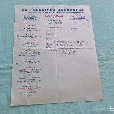 Cartas comerciales: LA FERRETERA ARAGONESA..ZARAGOZA..6 NOVIEMBRE 1937¡ II AÑO TRINFAL¡ ¡VIVA ESPAÑA¡. Lote 205693073