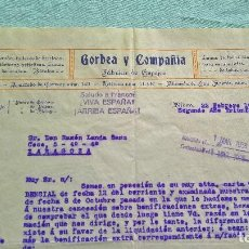 Cartas comerciales: GORBEA Y COMPAÑIA..BILBAO..22 FEBRERO 1938..SEGUNDO AÑO TRINFAL ¡VIVA ESPAÑA¡¡ARRIBA ESPAÑA¡¡. Lote 205694625