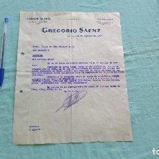 Cartas comerciales: GREGORIO SAENZ..LOGROÑO..10 FEBRERO 1938..SEGUNDO AÑO TRINFAL. Lote 205694905