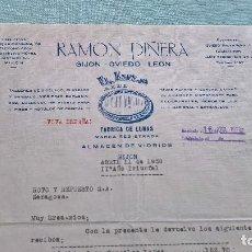 Cartas comerciales: RAMON PIÑERA..ALMACEN VIDRIOS..GIJON..16 ABRIL 1938..¡ VIVA ESPAÑA ¡. Lote 205706570