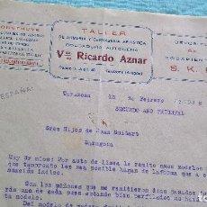 Cartas comerciales: TALLER ARMERIA VDA.RICARDO AZNAR..TARAZONA..16 FEBRERO 1938..SEGUNDO AÑO TRINFAL..¡VIVA ESPAÑA ¡. Lote 205707850
