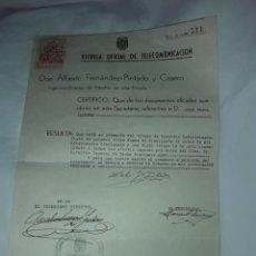 Cartas comerciales: ANTIGUO CERTIFICADO DE RADIOTELEGRAFISTA ESCUELA OFICIAL DE TELECOMUNICACIONES AÑO 1941. Lote 206259993