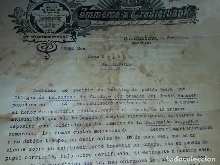 Cartas comerciales: Antiguo Certificado de compra de Obligación año 1914 - Foto 3 - 206261431