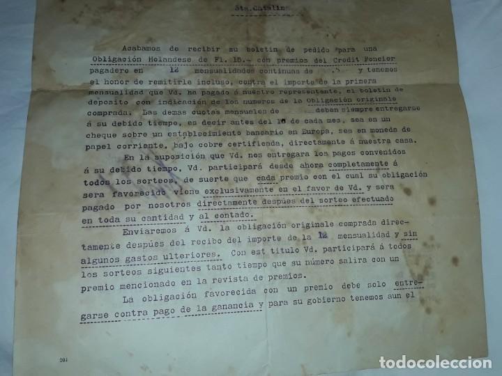 Cartas comerciales: Antiguo Certificado de compra de Obligación año 1914 - Foto 4 - 206261431