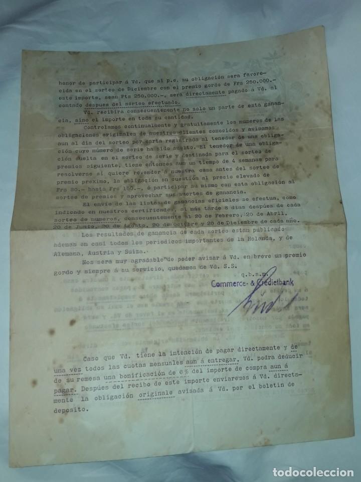Cartas comerciales: Antiguo Certificado de compra de Obligación año 1914 - Foto 5 - 206261431