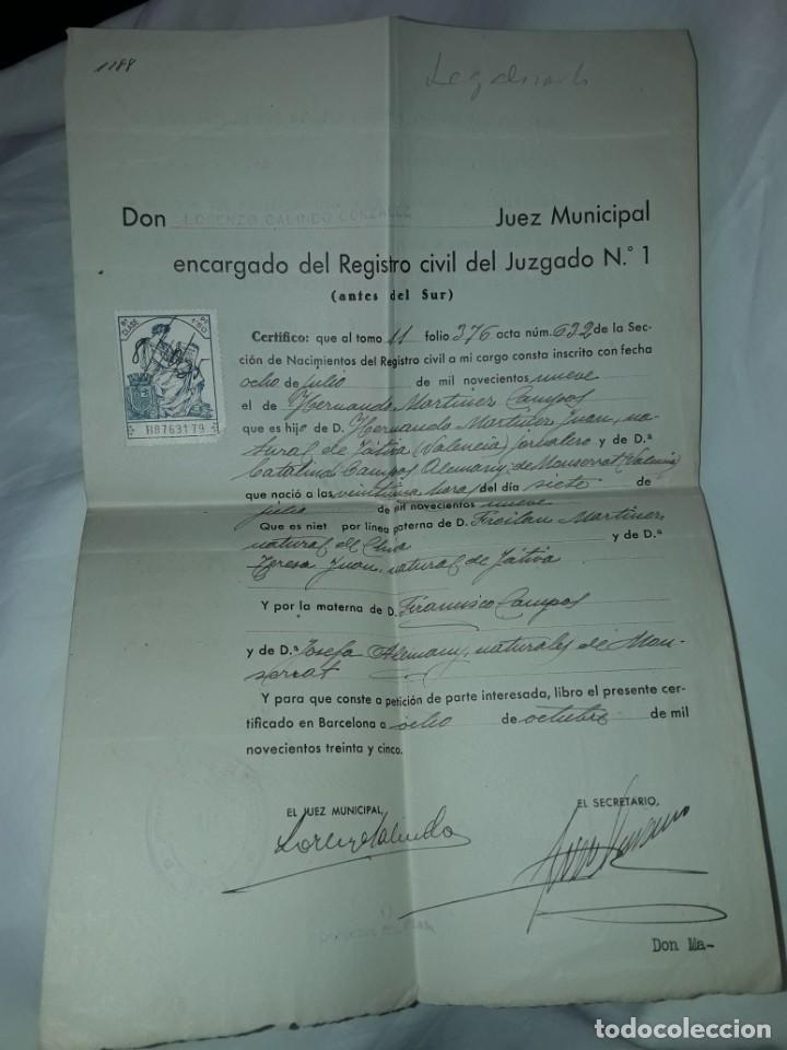 ANTIGUO CERTIFICADO DE NACIMIENTO AÑO 1935 (Coleccionismo - Documentos - Cartas Comerciales)