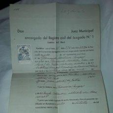 Cartas comerciales: ANTIGUO CERTIFICADO DE NACIMIENTO AÑO 1935. Lote 206262641