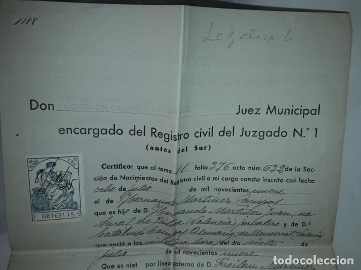 Cartas comerciales: Antiguo Certificado de Nacimiento año 1935 - Foto 2 - 206262641