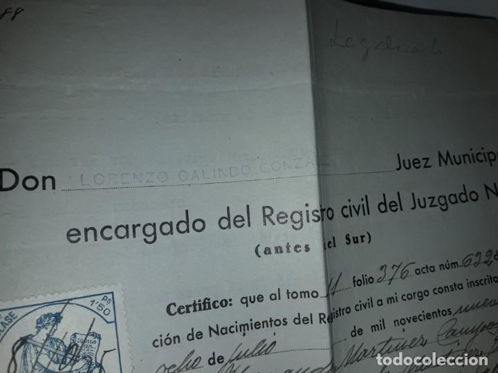 Cartas comerciales: Antiguo Certificado de Nacimiento año 1935 - Foto 3 - 206262641