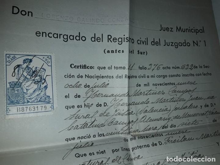 Cartas comerciales: Antiguo Certificado de Nacimiento año 1935 - Foto 4 - 206262641