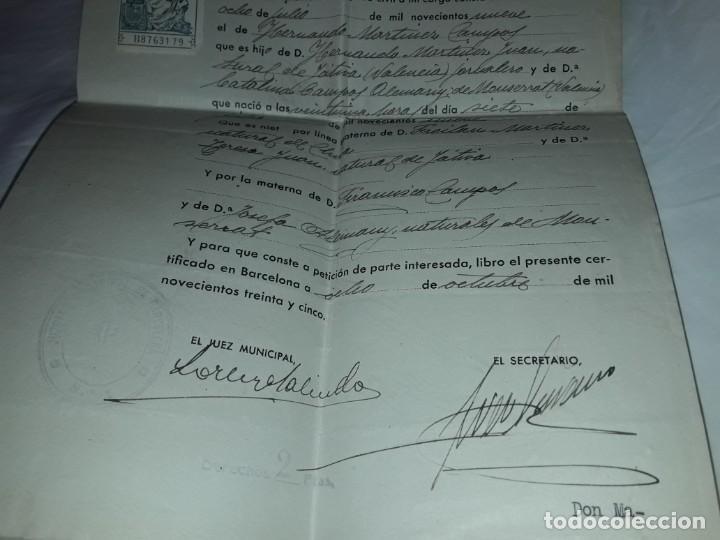 Cartas comerciales: Antiguo Certificado de Nacimiento año 1935 - Foto 5 - 206262641