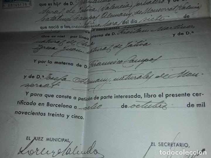 Cartas comerciales: Antiguo Certificado de Nacimiento año 1935 - Foto 6 - 206262641