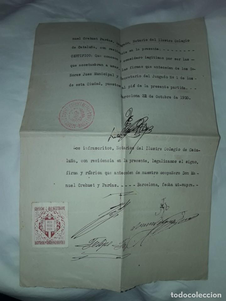 Cartas comerciales: Antiguo Certificado de Nacimiento año 1935 - Foto 7 - 206262641