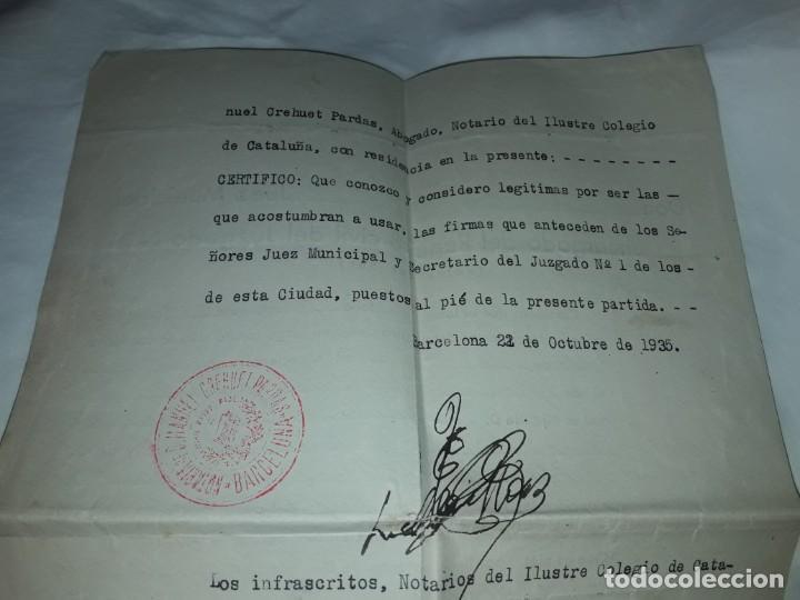 Cartas comerciales: Antiguo Certificado de Nacimiento año 1935 - Foto 8 - 206262641