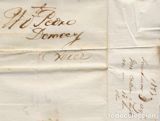CARTA COMERCIAL AÑO 1823 SANLUCAR DE BARRAMEDA A JEREZ DE LA FRONTERA - SIN MARCA POSTAL - FOTO AD. (Coleccionismo - Documentos - Cartas Comerciales)