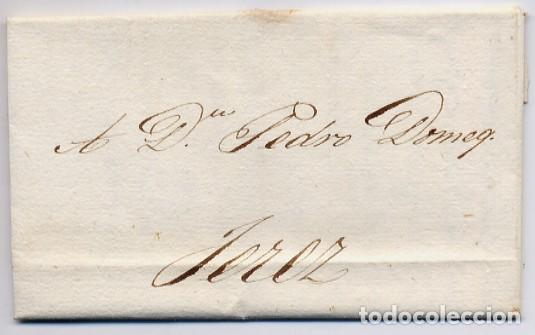 CARTA COMERCIAL AÑO 1823 SANLUCAR DE BARRAMEDA A JEREZ DE LA FRONTERA - SIN MARCA POSTAL (Coleccionismo - Documentos - Cartas Comerciales)