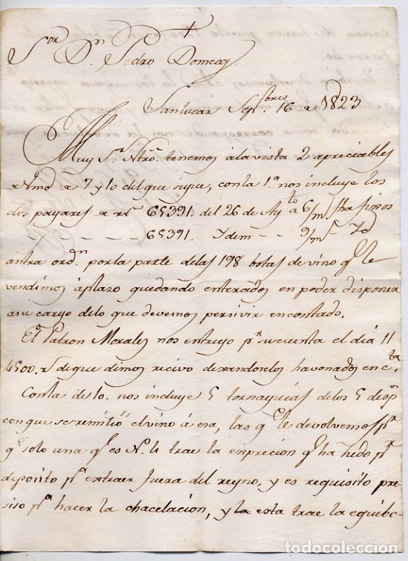 CARTA COMERCIAL AÑO 1823 SANLUCAR DE BARRAMEDA - SIN SOBRE - HACE REFERENCIA AL PATRON MORALES,FOTOS (Coleccionismo - Documentos - Cartas Comerciales)