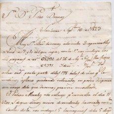 Cartas comerciales: CARTA COMERCIAL AÑO 1823 SANLUCAR DE BARRAMEDA - SIN SOBRE - HACE REFERENCIA AL PATRON MORALES,FOTOS. Lote 206271287