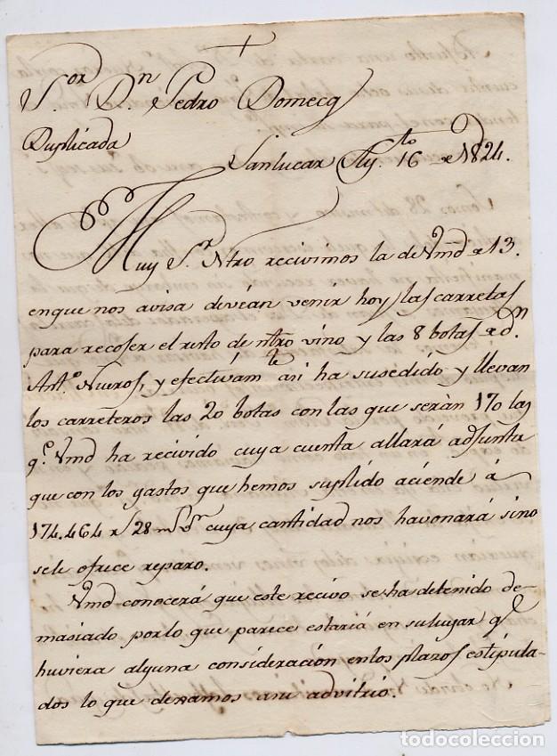 CARTA COMERCIAL AÑO 1824 SANLUCAR DE BARRAMEDA - SIN SOBRE - LLEVADA POR JUAN DE DIOS, VER FOTO ADIC (Coleccionismo - Documentos - Cartas Comerciales)