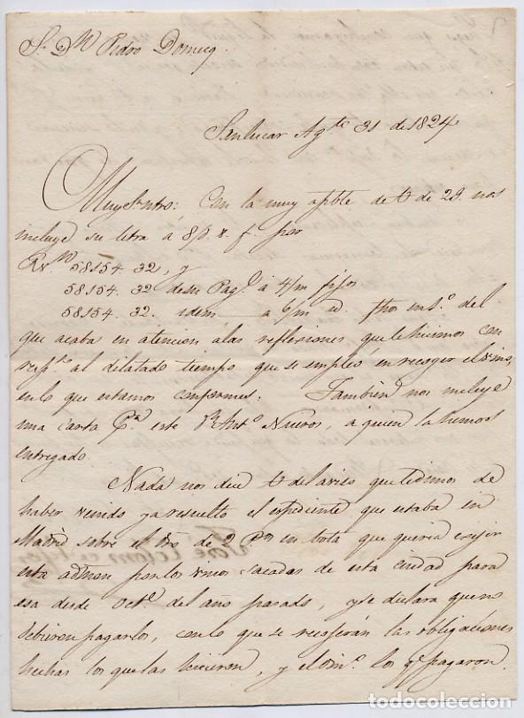CARTA COMERCIAL AÑO 1824 SANLUCAR DE BARRAMEDA - SIN SOBRE (Coleccionismo - Documentos - Cartas Comerciales)
