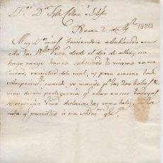 Cartas comerciales: CARTA COMERCIAL AÑO 1823 SANLUCAR DE BARRAMEDA - SIN SOBRE. Lote 206274308